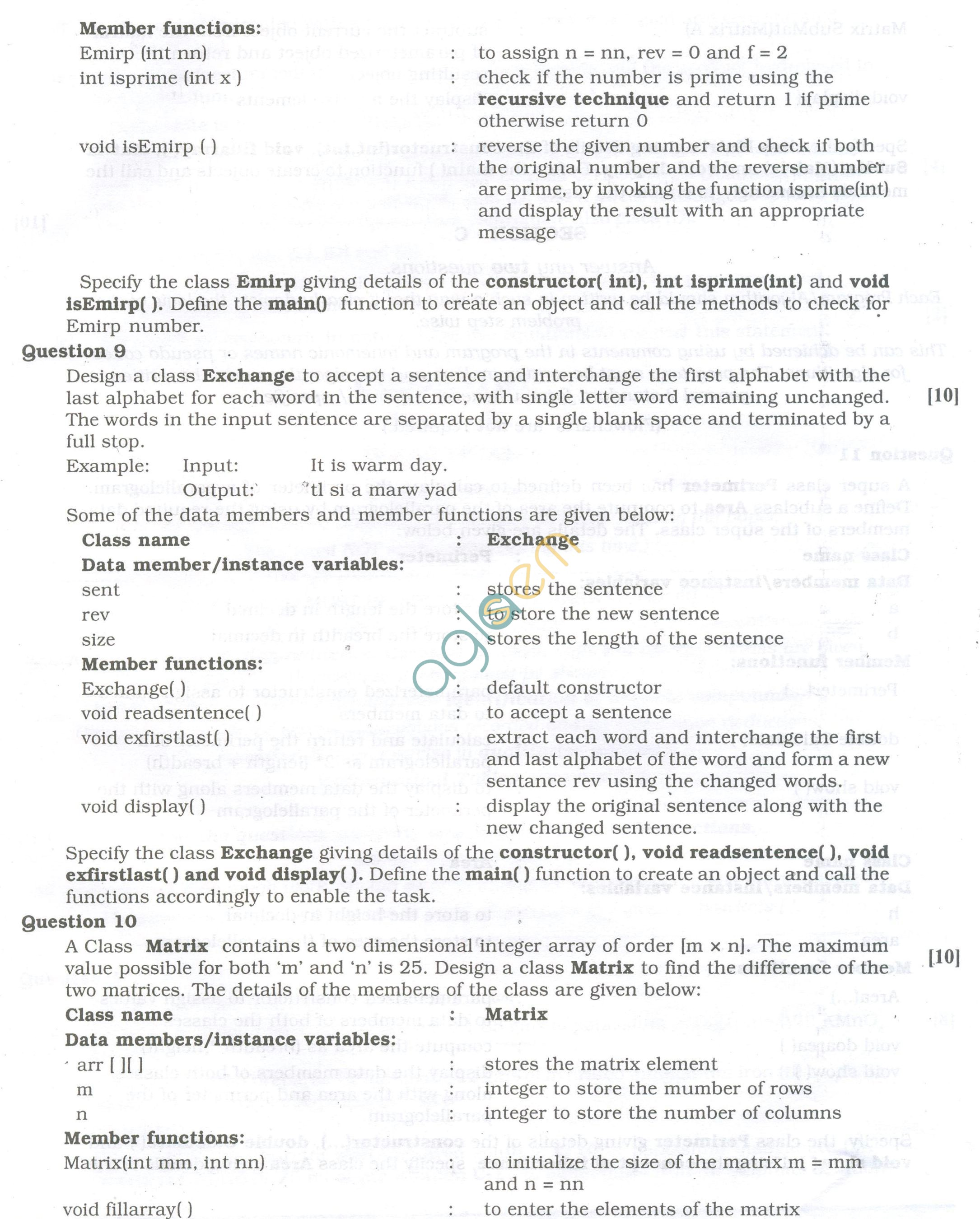 ISC Question Papers 2013 for Class 12 - Computer Science