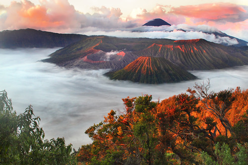 mist sunrise indonesia volcano java amanecer niebla bromo volcan