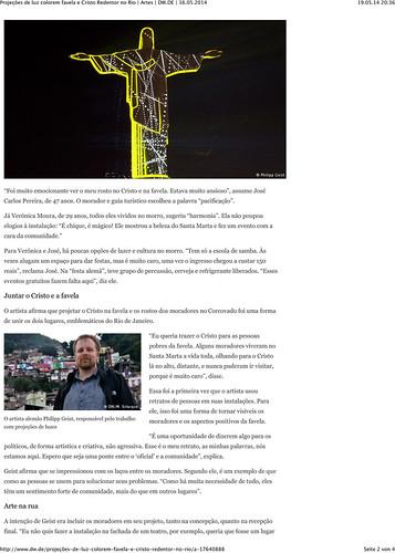 Projeções de luz colorem favela e Cristo Redentor no Rio | Artes | DW.DE | 16.05.2014-2