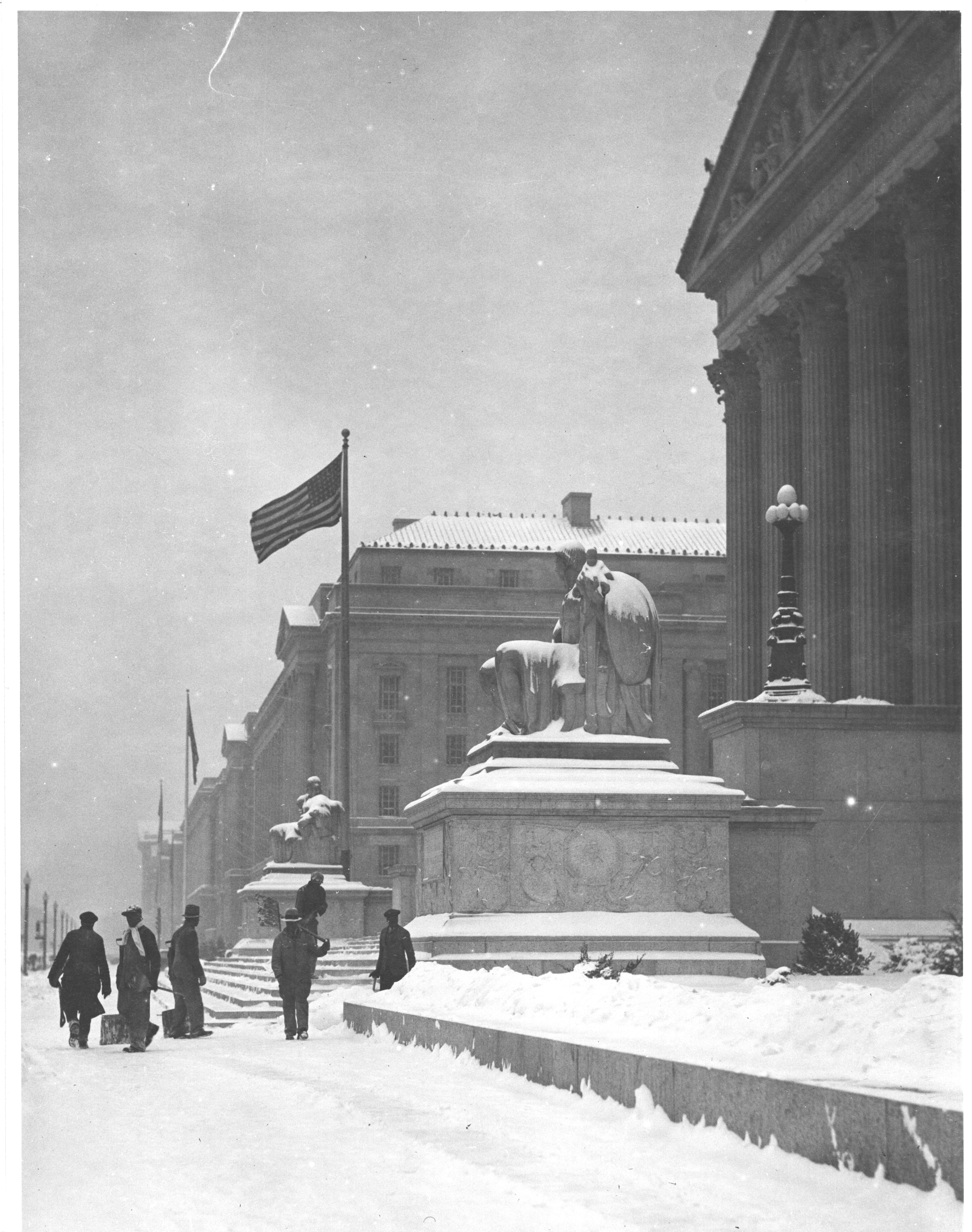 Photograph of Workers Shoveling Snow from the National Archives Building Constitution Avenue Entrance , 01/02/1936