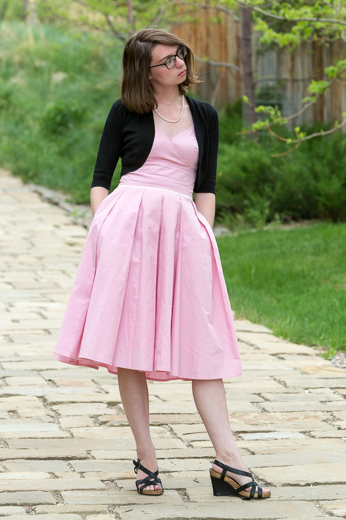 product review, never full dressed, withoutastyle, pink,pearls,  dress, full skirt, wyoming, eshakti,