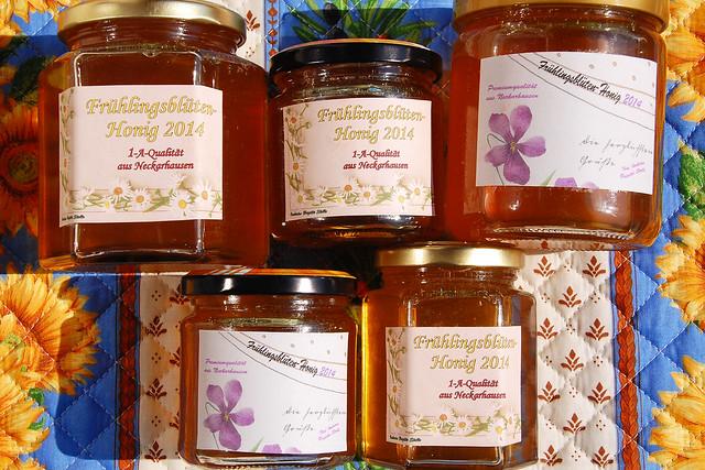 Honig Frühlingshonig Frühblüherhonig Tausendblütenhonig 2014 Bienen Imkerei Honigetiketten selbst gestaltet Vorlage historische Ansichtskarten Brigitte Stolle