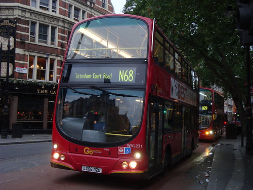 London Central WVL231 on Route N68,  Charing Cross Road