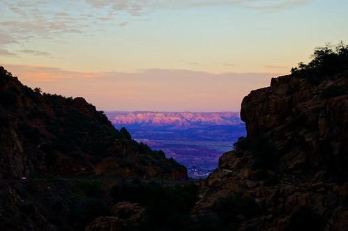 arizona jerome town road winding mountain cliff rocks canyon ridge landscape sunset twilight sky evening thegalaxy