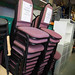 Pink fabric stacking chair