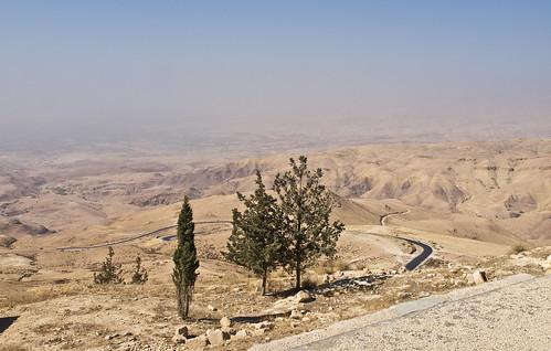 reisen travelling naherosten neareast الشرقالأوسطالأقصى jordanien الأردن jordan landschaft landscape wüste desert bergnebo mountnebo bäume trees himmel sky olympuse5 schreibtnix