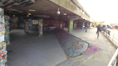 The South Bank, London - Queen Elizabeth Hall - Undercroft graffiti - HD video clip