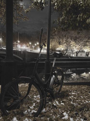 city bridge autumn trees urban blackandwhite bw snow reflection water leaves bicycle river lights noir shadows pvanhala