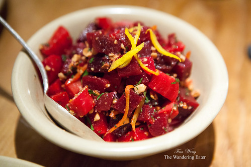 Marinated Beets, Almonds, Orange, and Ricotta