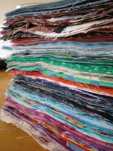 Stack of cut fabric
