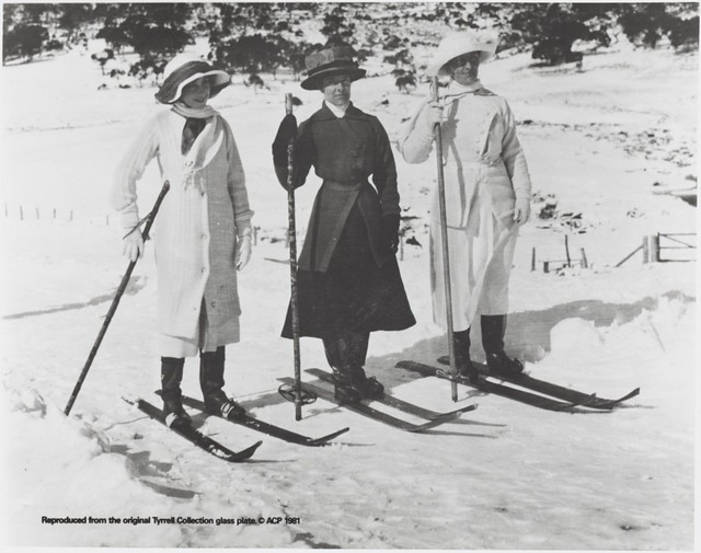 Three women on skis, Snowy Mountains, New South Wales, ca. 1900