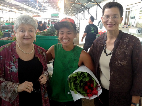 <p>University of Hawaii President M.R.C. Greenwood and UH West O'ahu Vice Chancellor for Academic Affairs Linda Randall with MA'O farms co-manager and full-time UH West O'ahu student Michelle Arasato.</p>