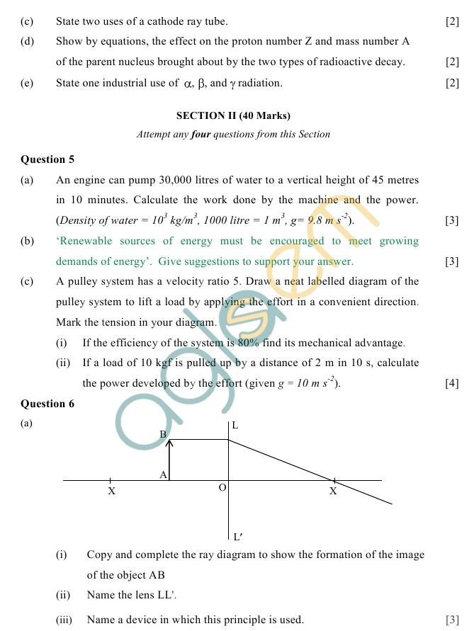 ICSE Class 10 Physics Sample Paper (Science Paper-1)