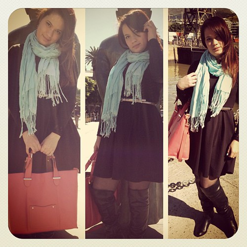 OOTD Black, Blue & Salmon. Details on the Blog www.therabbitandtherobin.co.za Spring has sprung but its still cold out so i always wear a scarf and ill find any reason to rock my boots  ;) {follow me @robindeel on Instagram} Official @rabbitandrobin #mark