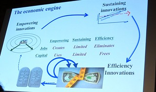 "Brilliant analysis by Prof Clayton Christensen, Harvard Business School on world's economic engine, from empowering innovation to sustaining & efficiency innovations.. why world awash with ""cash"" but no job creation! ""Capitalist's Dilemma"" IMG_0208"