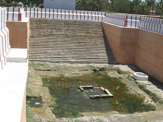 Low water levels at the the Hanuman Kund.