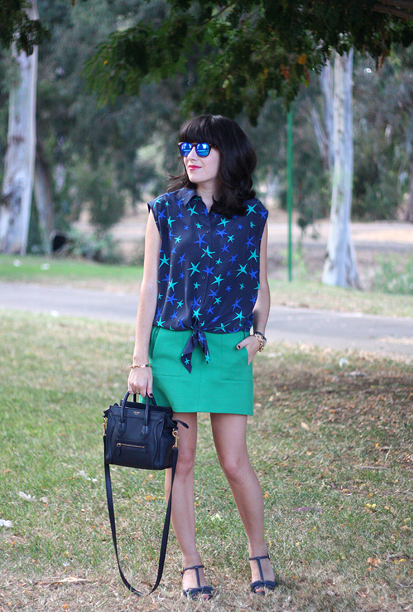 אפונה בלוג אופנה, תיק סלין, סנדלים פראדה, celine bag, equipment star blouse, spektre sunglasses