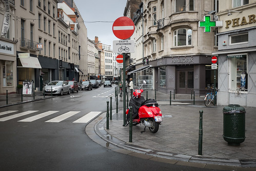 Red scooter in Brussels, Belguim.