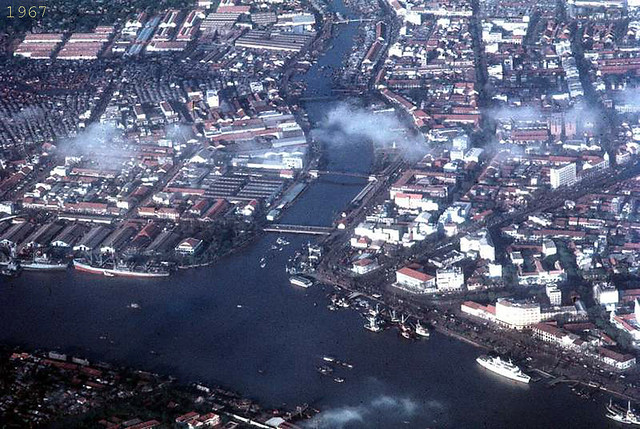 1967 Downtown Saigon from the air - hospital ship on lower right