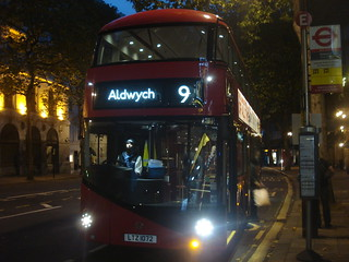 London United LT72 (second OPO journey) on Route 9, Aldwych
