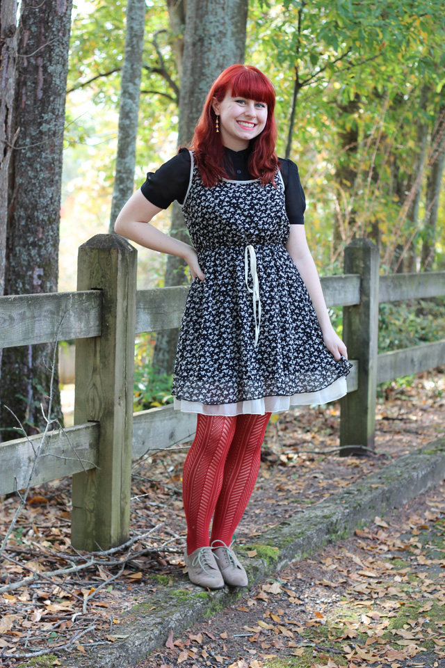 Wearable Halloween Outfit: Cat Print Dress, Orange Tights