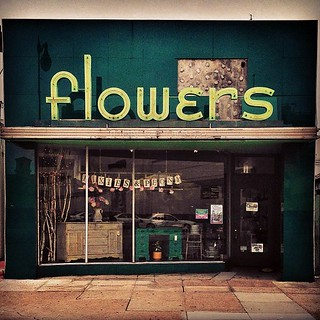 Sweet storefront with vintage neon sign for what was Towata Flowers in Alameda, CA