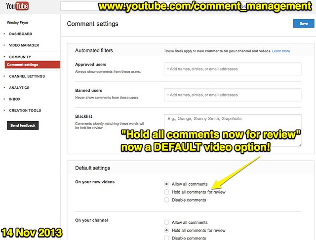 YouTube - Comment Management Settings