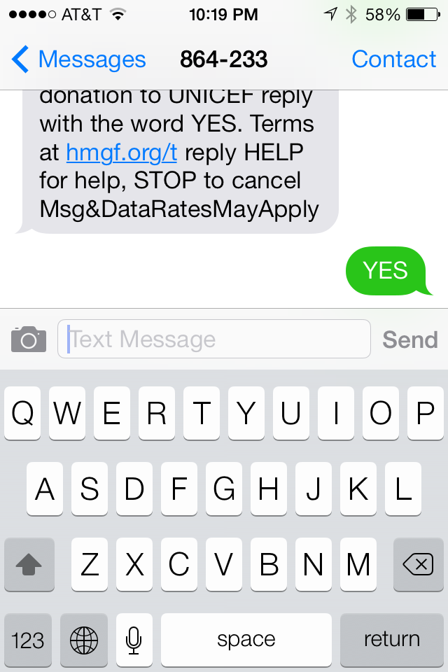 text donating 3