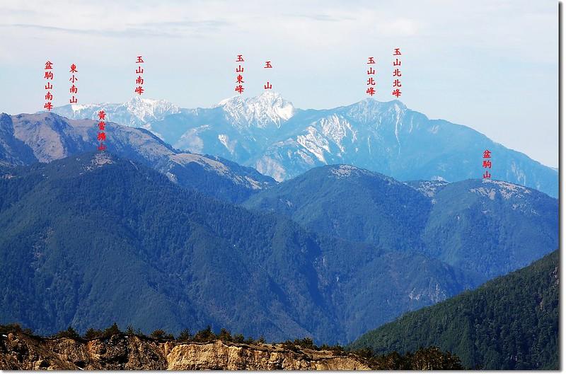天南可蘭山南坡西南眺盆駒、黃當擴及玉山群峰 2