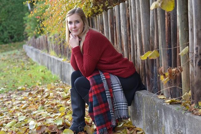 Outfit Zaraschal rot weinrot (4)