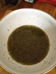 Soaking chia seeds in water with matcha