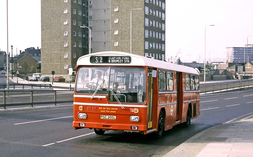 London Transport: MS5 (PGC205L) from Dalston Garage on Blackwall Tunnel Northern Approach on Route S2