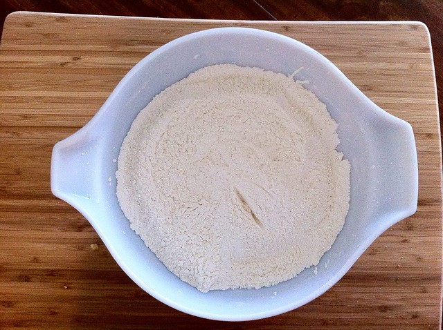 Sifted Flour and Leveners in Bowl