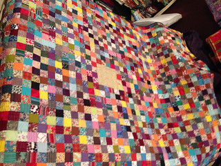 One big square, the Liberty lawn & shott cotton quilt.