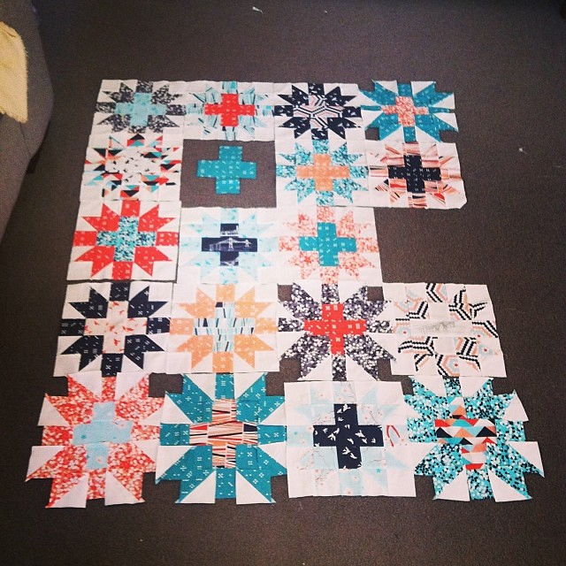 Trying to work out which fabrics to use for remaining blocks on this quilt is doing my head in! I want the colours balanced out hmphhhhh