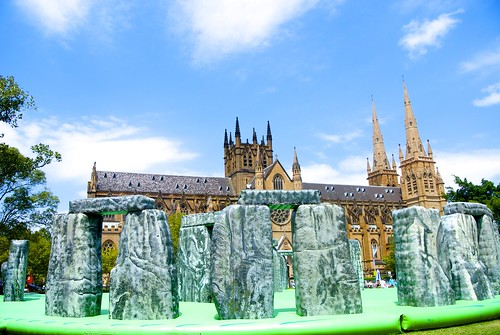 """St Mary's Cathedral and """"Sacrilege"""", a life-size Stonehenge jumping castle"""