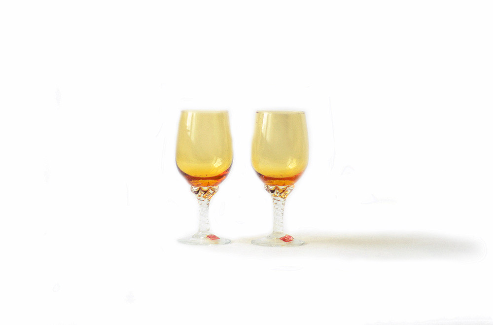 Two Italian Vintage Amber Cordial Glasses