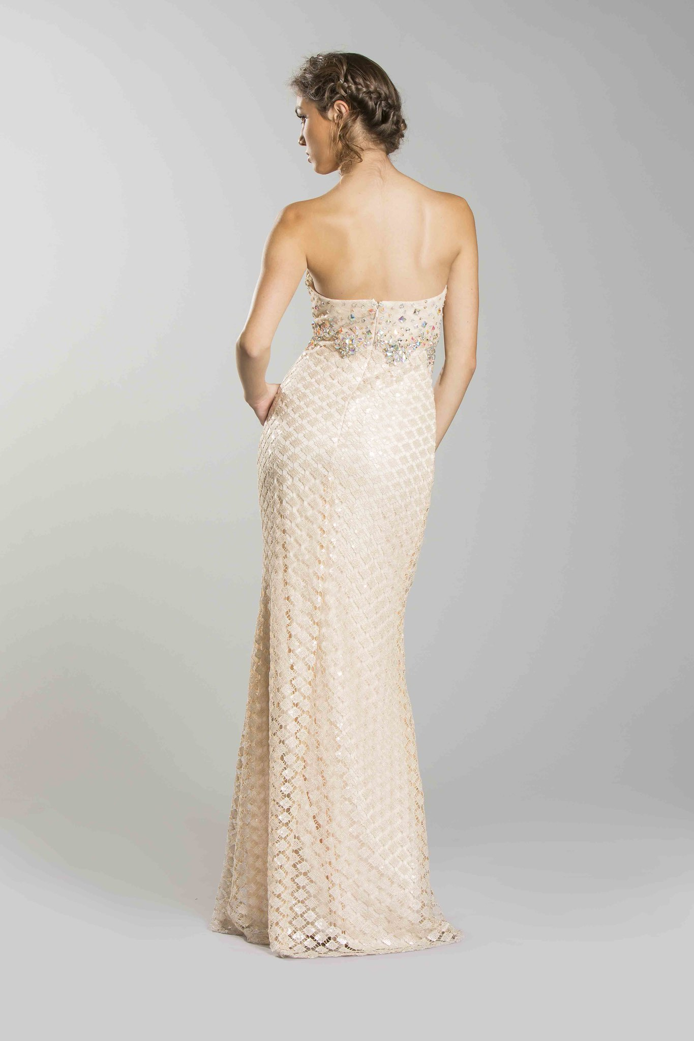 Champagne Beaded Form Fitting Formal Prom Dress Wedding