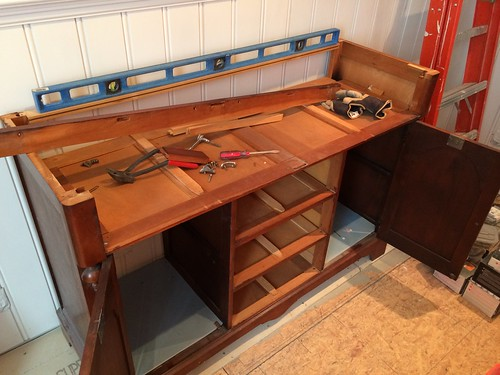 How an Antique Buffet Can (Slowly) Become a Bathroom ...
