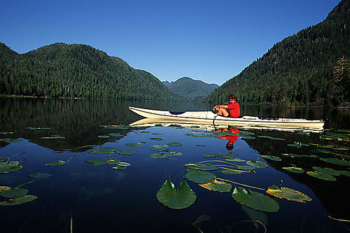Kayaking on Megin Lake, Strathcona Provincial Park, Central Vancouver Island, British Columbia, Canada