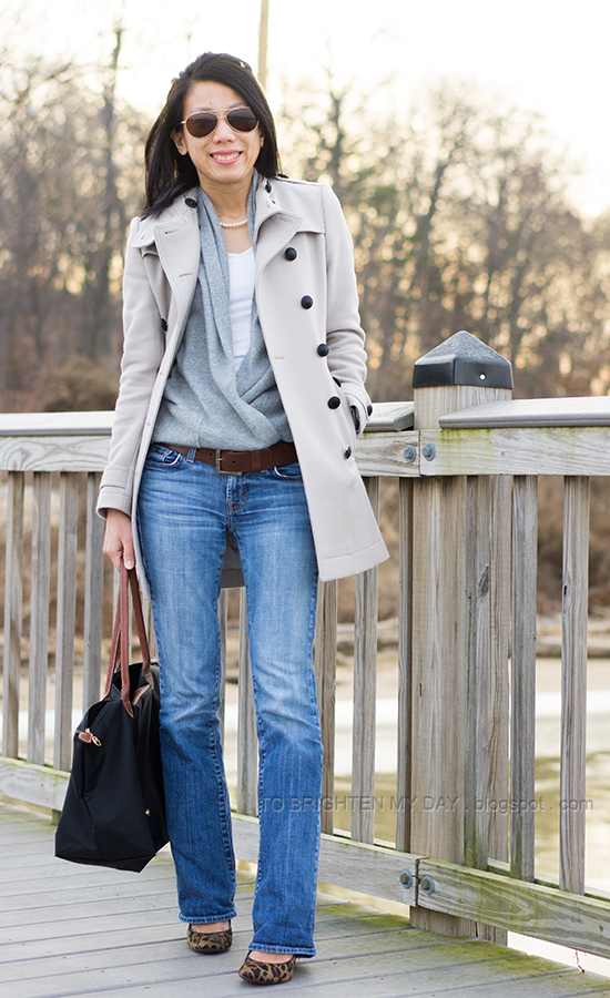 wool trench coat, gray open sweater, jeans, leopard heels