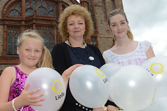 Minister Ní Chuilín at the  Líofa 2nd birthday with Tara McNamee and Amy Donaghey