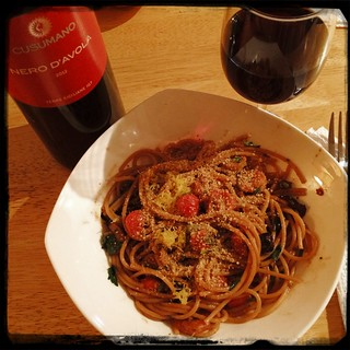 There ya go... Dressed w/Italian #Breadcrumbs and #Lemon #Zest #Cusumano Nero d'Avola #Wine