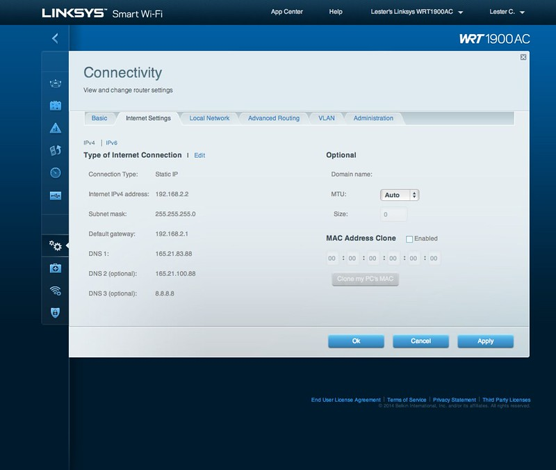 Linksys Smart Wi-Fi - Connectivity - Internet Settings