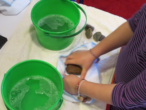 Washing Rocks (Photo from Teach Preschool)