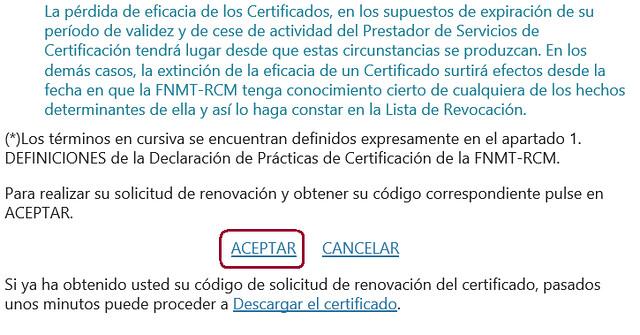 Renovar certificado - Aceptación de las condiciones