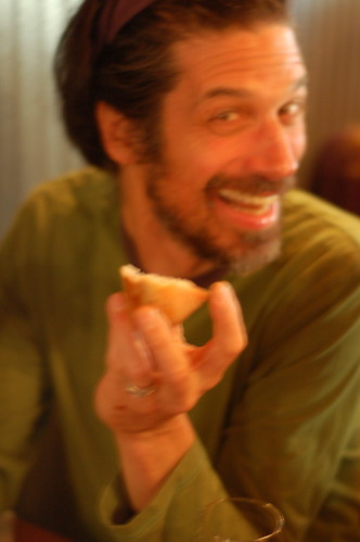 "Steve taps the distinctive ""nipple"" on fresh baked rye roll at The Huguenot restaurant in New Paltz by Eve Fox, The Garden of Eating copyright 2014"