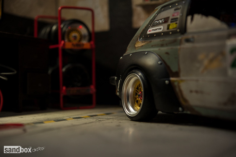 Dubdrift Toyota STARLET KP61 RC Drift Rusty Effect on sandbox speedhunters drift garage 14367723624_50d66cd65e_c