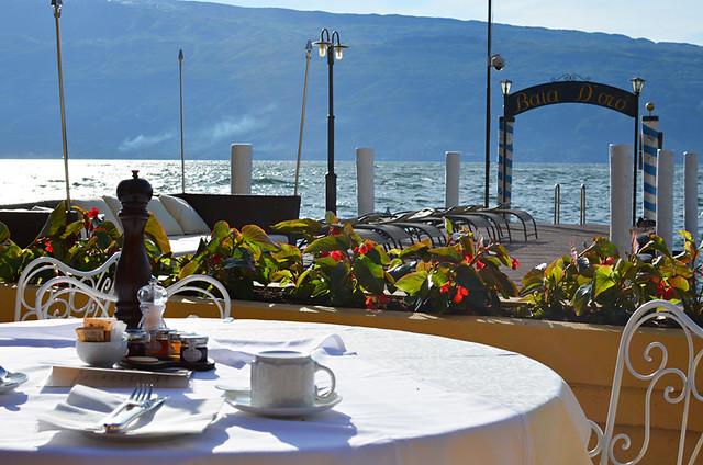 Outdoor terrace, Hotel Baia d'Oro, Gargnano, Lake Garda, Italy