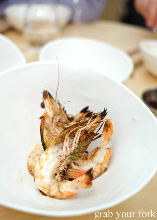 Hibachi grilled prawns with kombu butter at Potts Point, Sydney